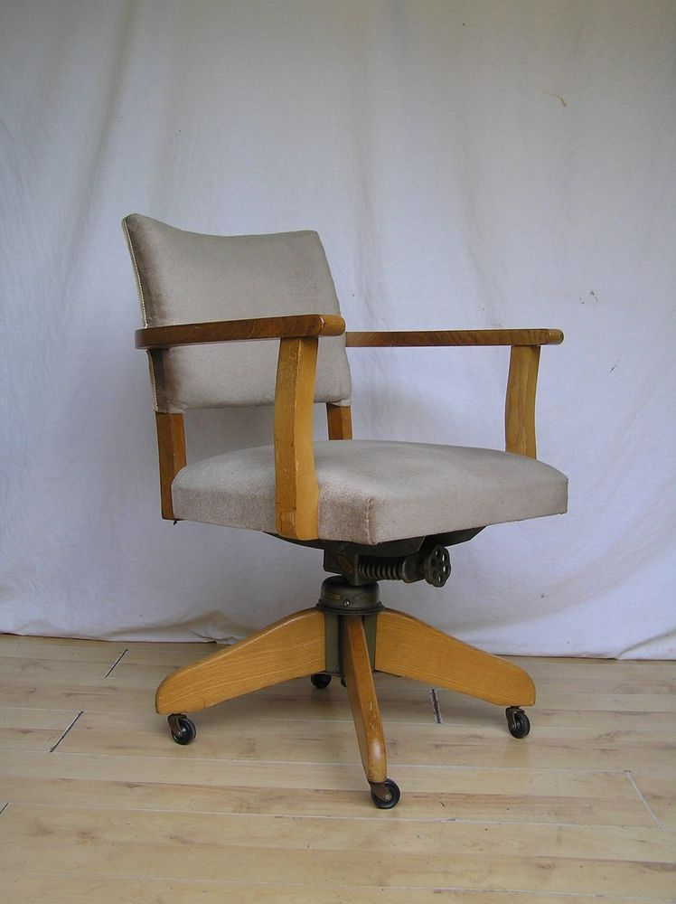 Vintage Hillcrest Desk Captains Office Oak 1950s Antique Swivel Chair Armchair
