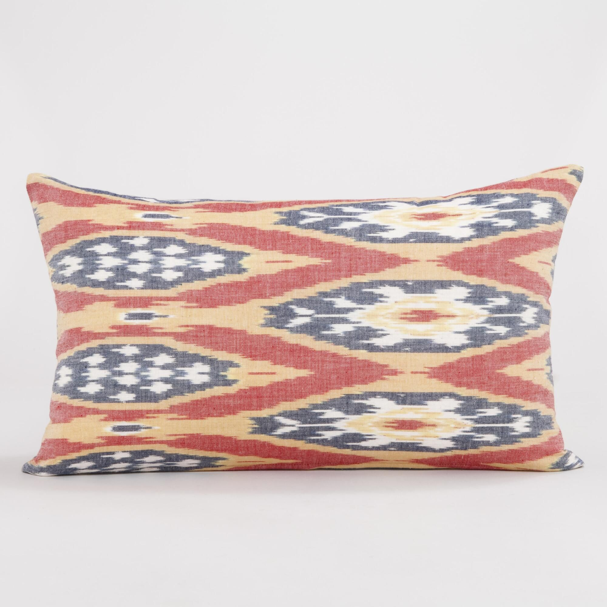 Red White Blue and Gold Ikat Lumbar Throw Pillow Red white