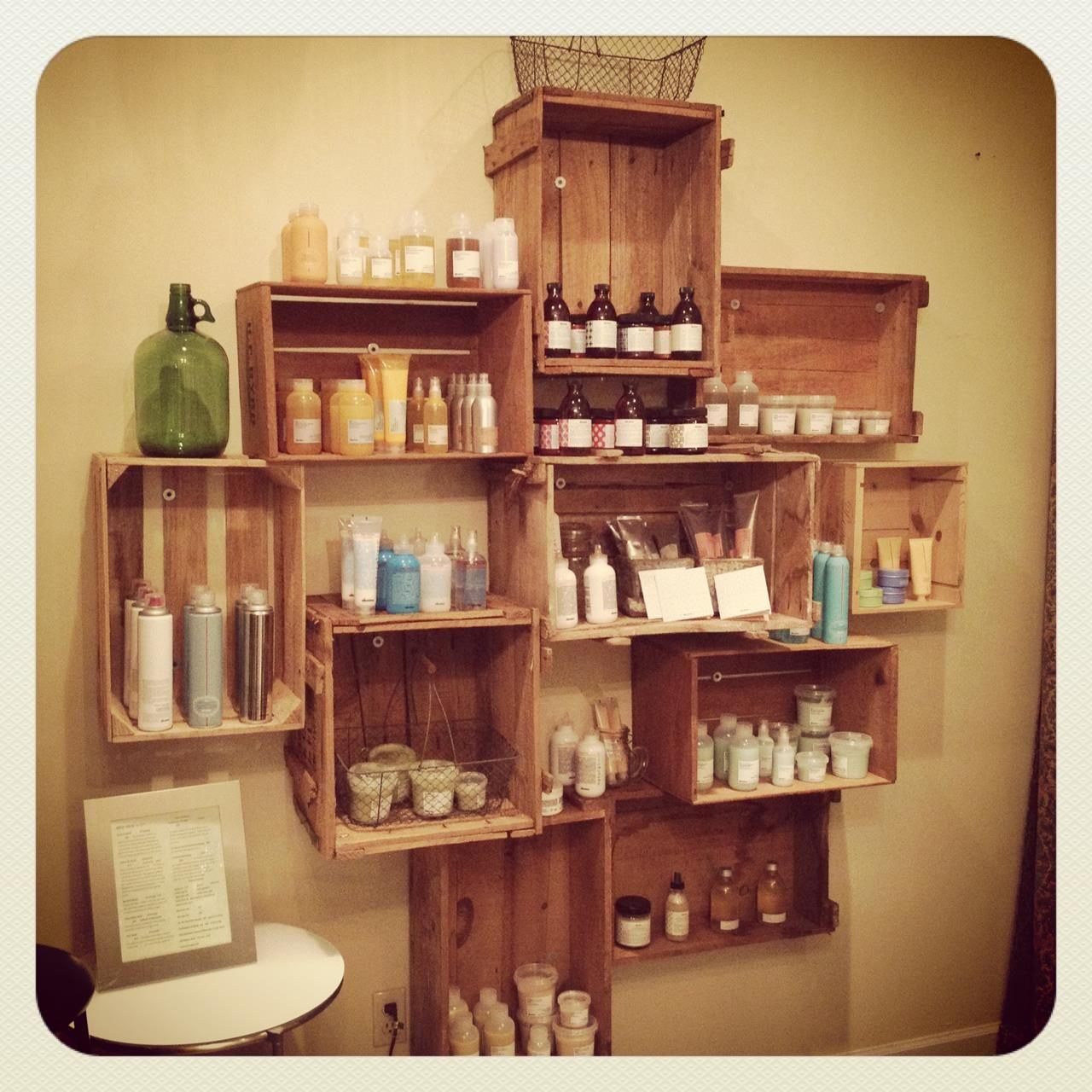 product shelf.Davines  Salon rustique, Salon chic rustique