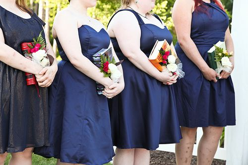 Kate & Jonathan's barefoot in the Shire book-geek wedding... bridesmaids with books instead of bouquets!!