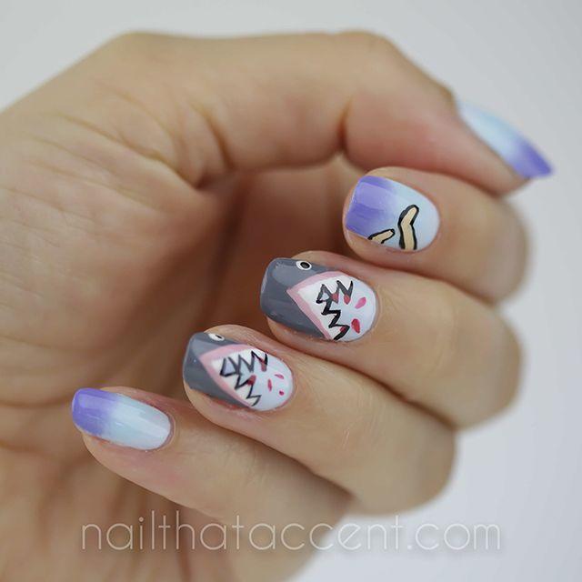Shark Week Nails Nail That Accent Nail Designs 2 Pinterest