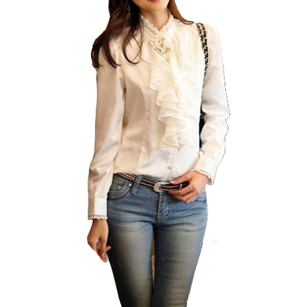 White ruffle apron amazon - Amazon Com Vobaga Black Women S Grays Ruffle Front Lace Collar Top Shirt Blouse S