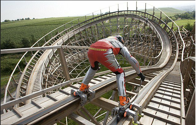 Dirk Auer rollerskating on a rollercoaster.  Video here: http://www.youtube.com/watch?v=YHbk11e4YYQ