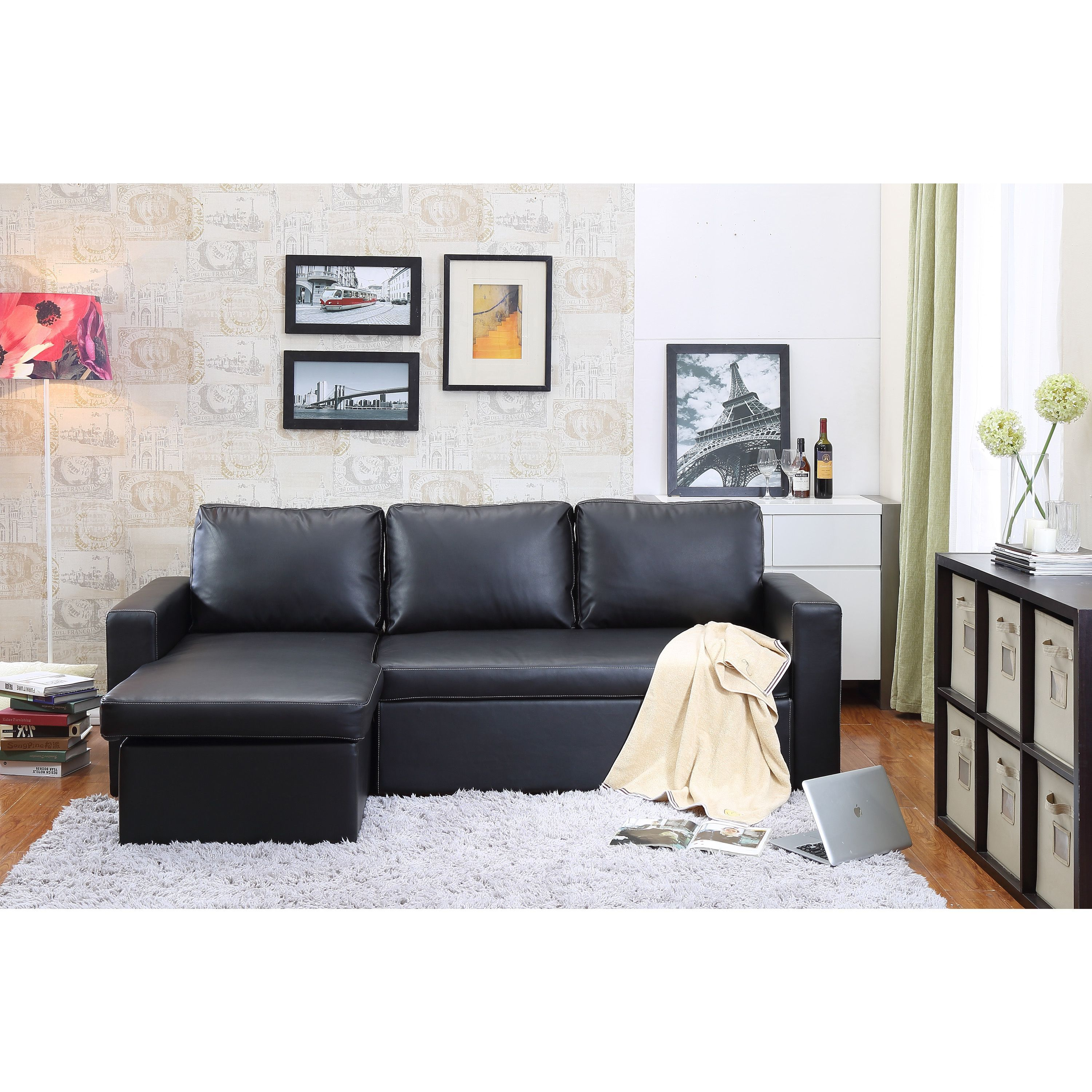 Russ160 The Hom 2 Piece Black Georgetown Bi Cast Leather Sectional Sofa Bed With Storage Pieces Faux