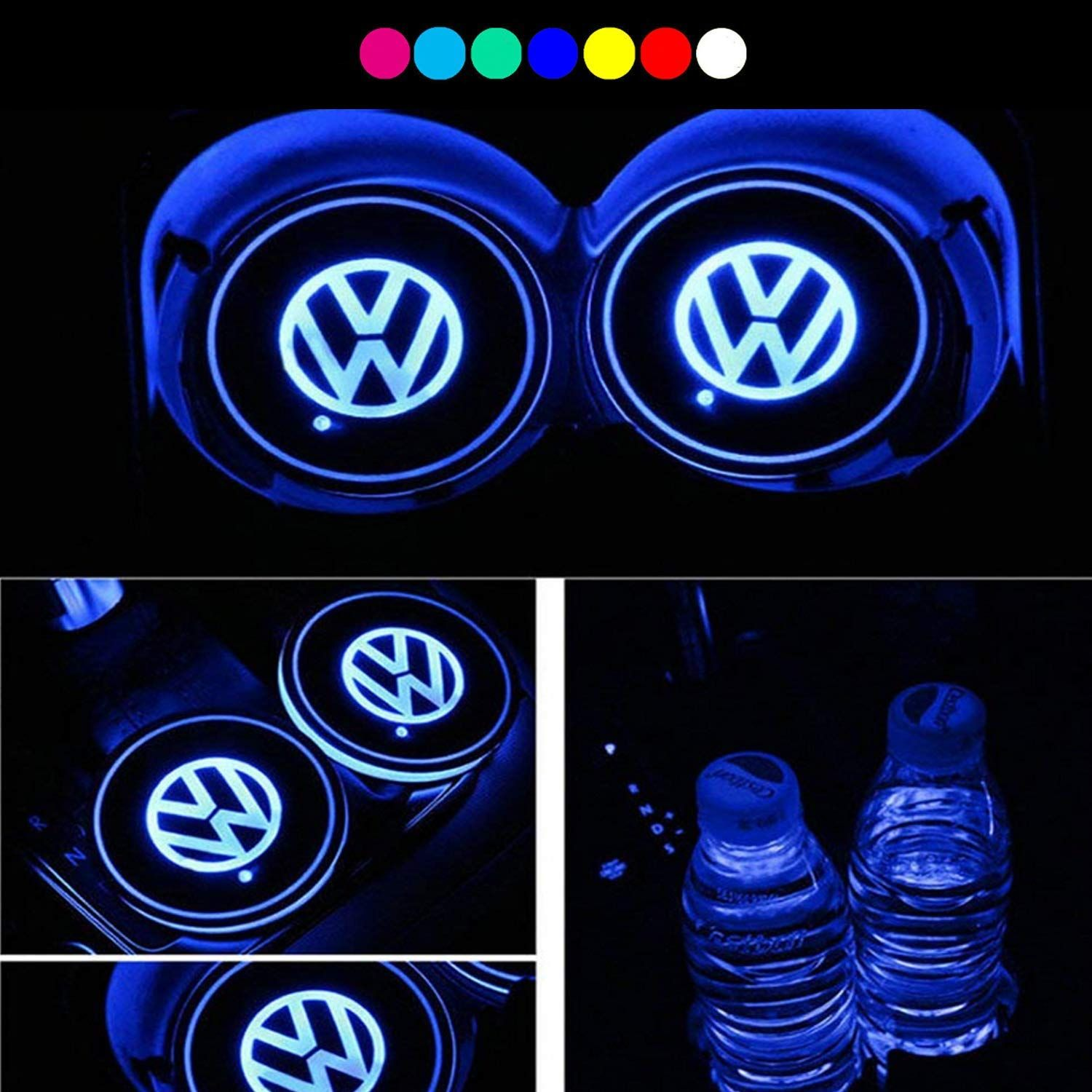 2pcs LED Car Logo Cup Holder Pads 7 Colors Changing USB Charging Mats Bottle Coasters Car Atmosphere Lamps