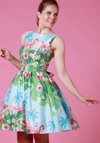 Blue Flamingo Border, tea dress by Lady Vintage   Buy now at www.misswindyshop.com