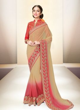 Beige & Red shaded net party wear saree with designer blouse