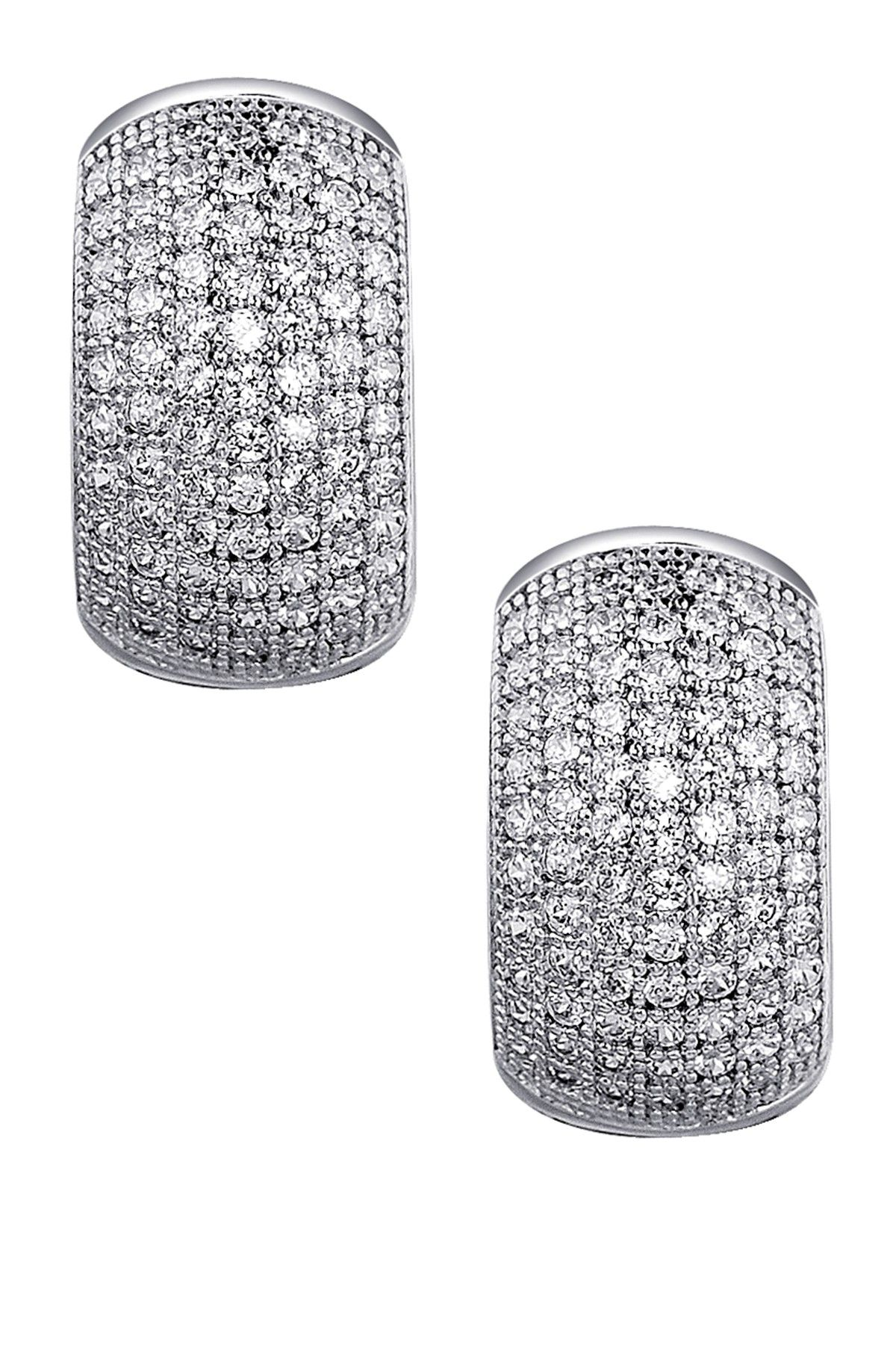 7643c72d8 LaFonn Platinum Plated Sterling Silver Micro Pave Simulated Diamond Small  Huggie Earrings