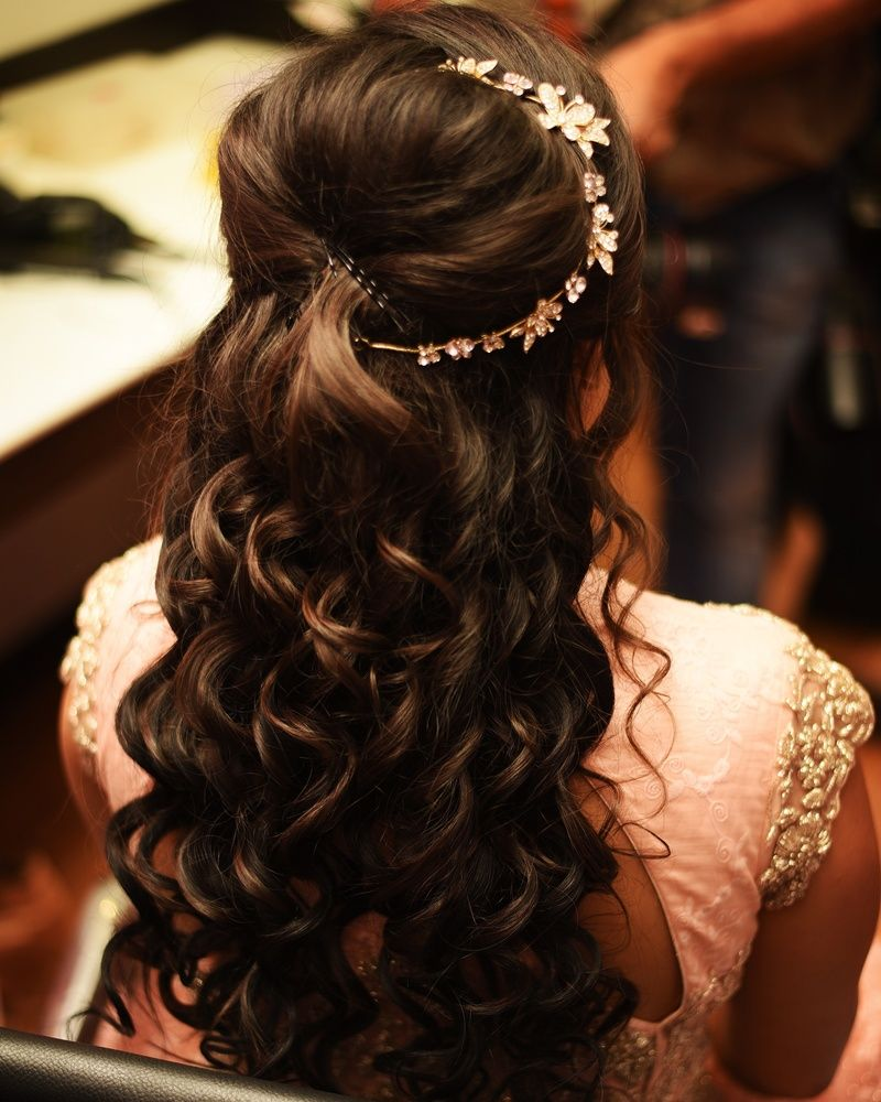 engagement hairstyle with side hair ornament | bride special