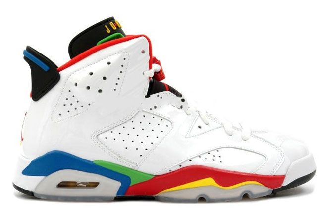 Latest Listing Air Jordan 6 (VI) Retro Olympic White/Varsity Red-Green  Bean-New Blue Shoes Store
