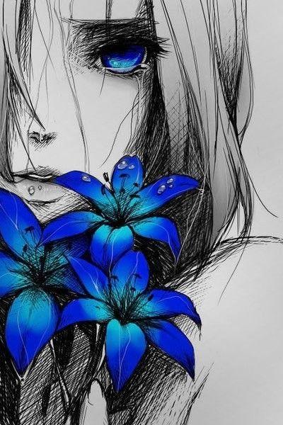Elle Le Regarda Partir Au Loin Le Coeur Lourd Les Fleurs Dans Ses Mains Pesaient Lourds Et Elle Laissa Les Larmes Jaillir Art Anime Art Manga Dessins Sympas