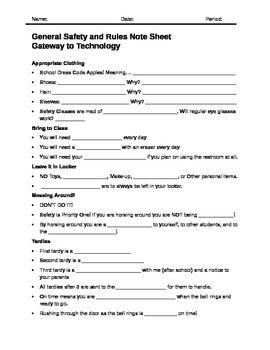 This Worksheet Goes With My General Safety Powerpoint For Middle School Hands On Classes