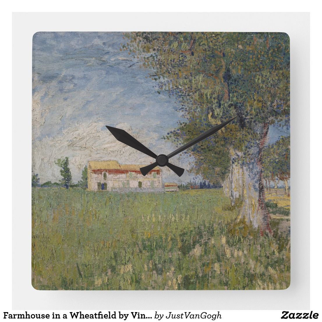 Farmhouse in a wheatfield by vincent van gogh square wall