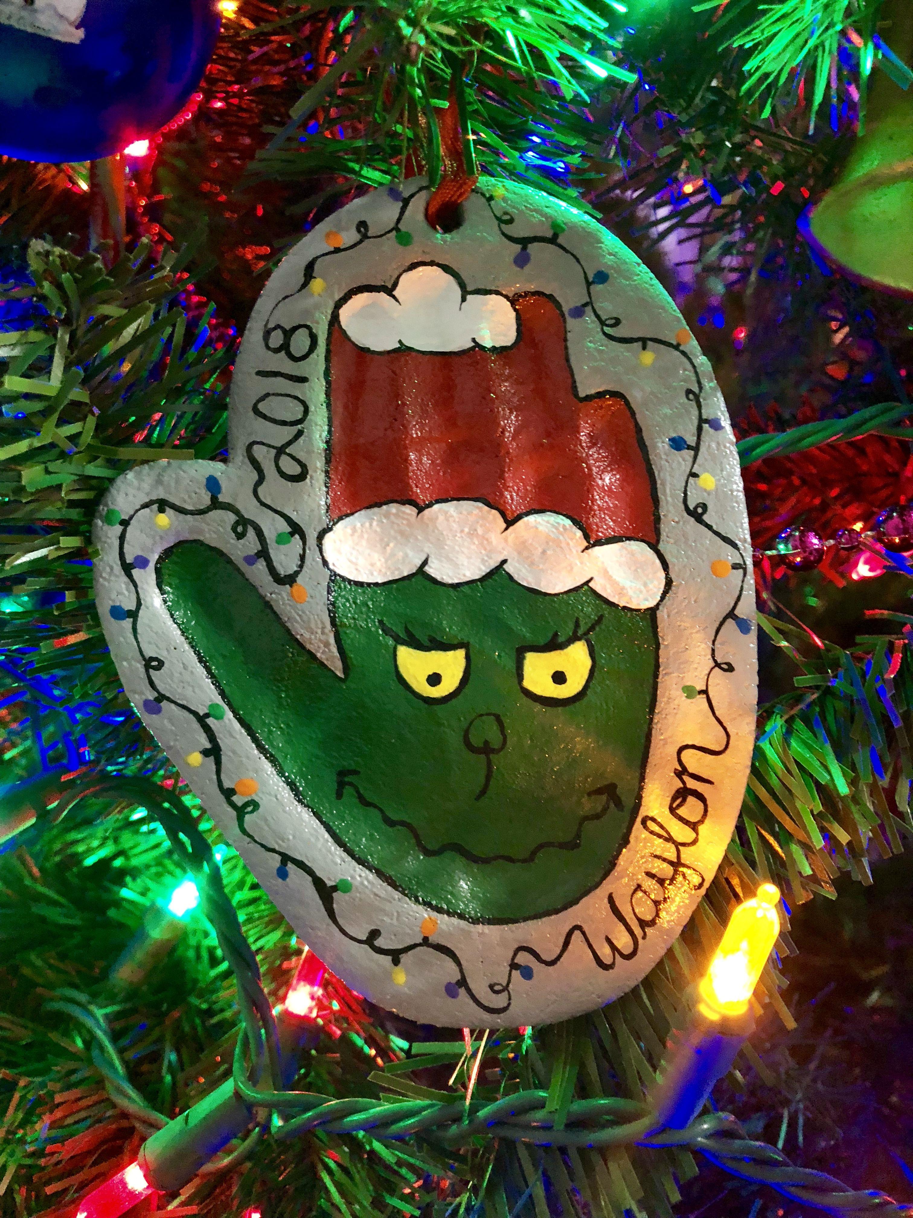 Grinch Salt Dough Handprint Diy Christmas Ornaments Christmas Crafts Christmas Ornaments