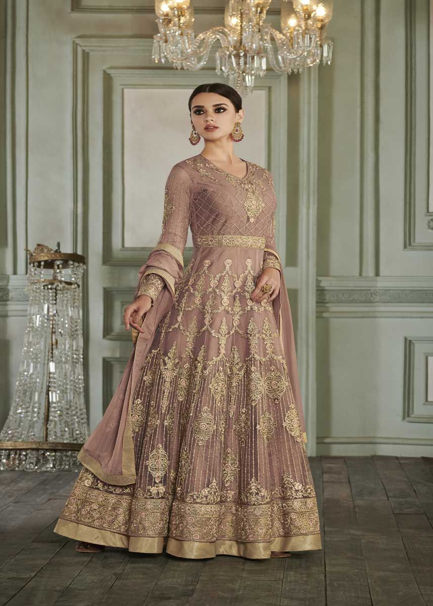 8e3d63e2b4 Fancy Beige Color Butterfly Mono Net Embroidered Wedding Wear Anarkali Suit
