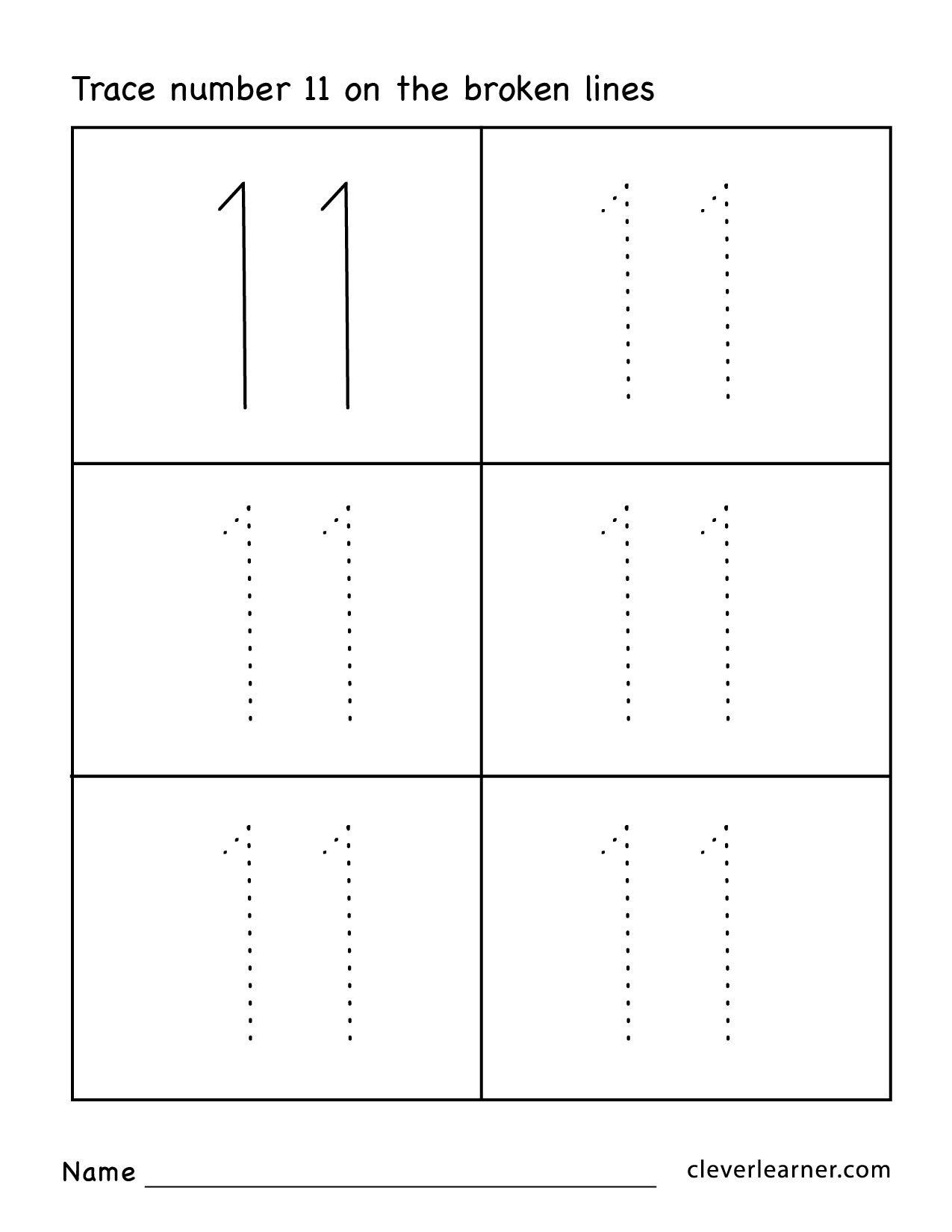 Number 11 Worksheet Preschool Number 11 Counting