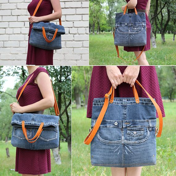 Jeans bag Denim purse Denim handbag Leather handles denim tote
