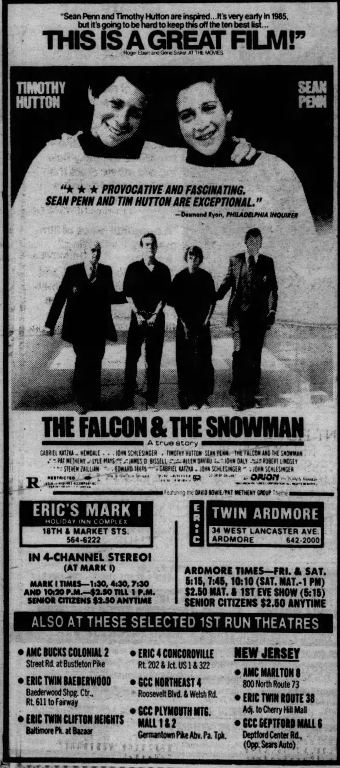 The Falcon The Snowman 1985 Movie Prints Weird Facts Old Movies