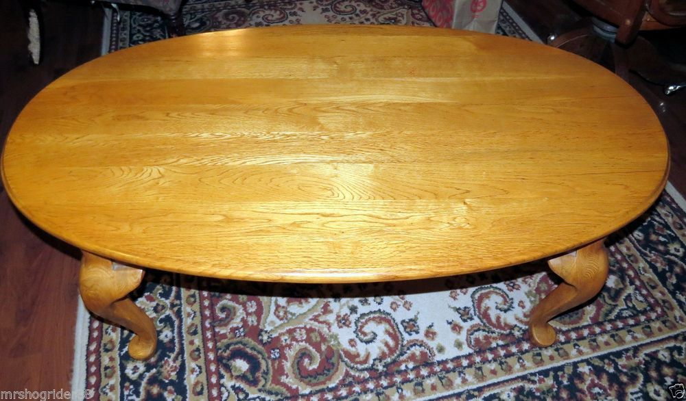 Vintage Solid Oak Broyhill Queen Anne Oval Coffee Table This Is A Gorgeous It In Wonderful Condition And Its Very Heavy I Can Tell