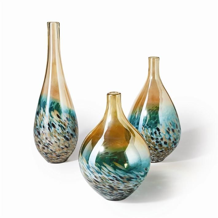 Tozai Home Glass Lustrous Teardrop Vases Set Of 3 Vase Set