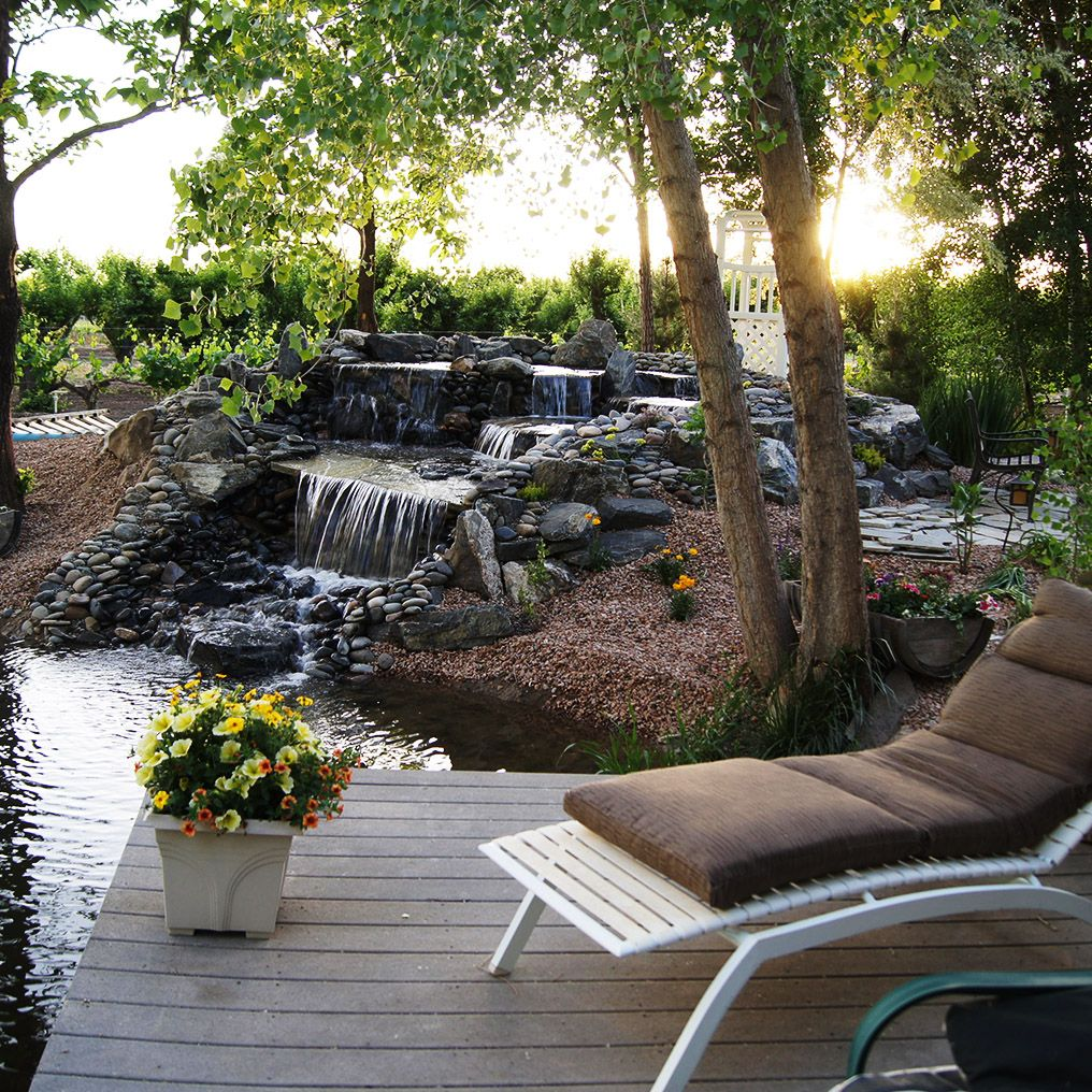Outdoor Wedding Spots Near Me: Small Waterfall At Amy's Courtyard In Palisade Colorado