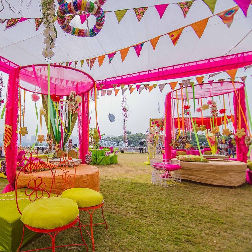 Venue Decorations: Outdoor Mehndi Function. …