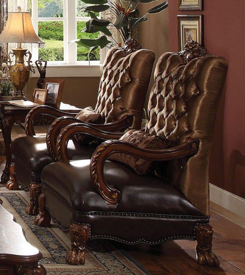 Acme Versailles Living Room Chair In Golden Brown Velvet