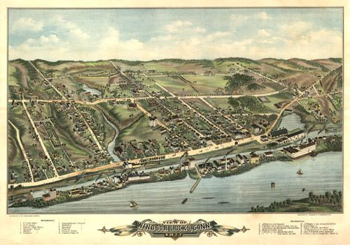 Historic Map of Windsor Locks CT 1877 Panoramic Maps