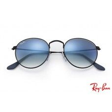 2468e4a34c Ray Bans RB3447 Round Metal with Black frame and Light Blue Gradient lenses