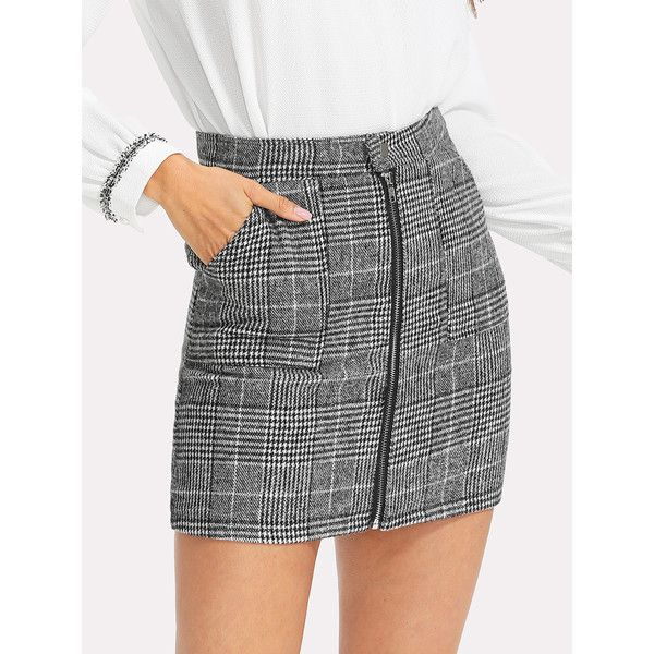 daf1078786 SheIn(sheinside) Zip Front Dual Pocket Plaid Skirt ($17) ❤ liked on Polyvore  featuring skirts, black and white, black white skirt, front zipper skirt,  ...