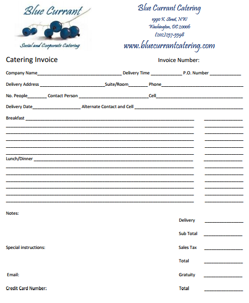 Catering Invoice Template   Catering Ideas