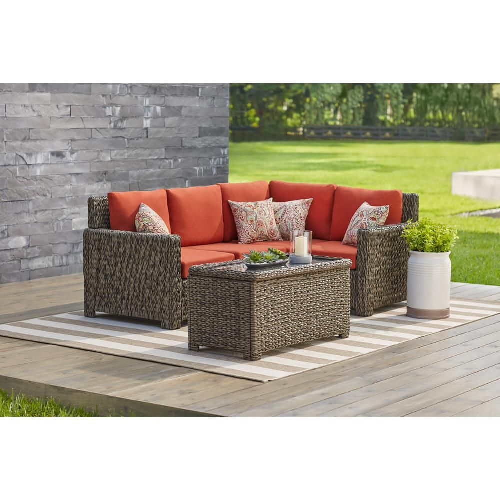 Hampton bay laguna point 5 piece brown all weather wicker outdoor sectional set with quarry red cushions