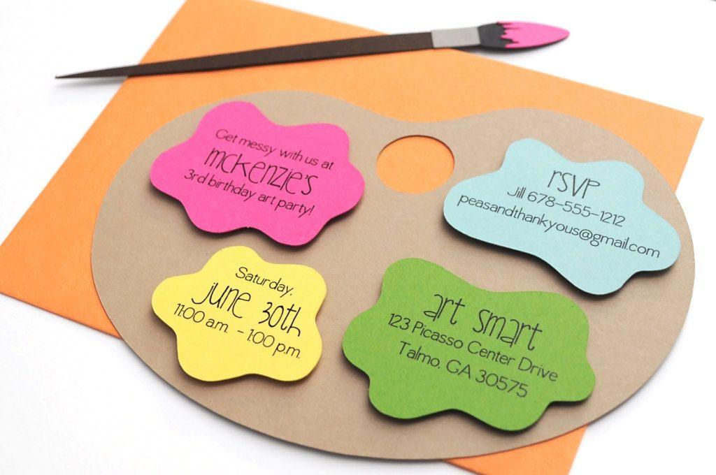Art Palette Painting Party Handmade Birthday Invitation   Birthday ...