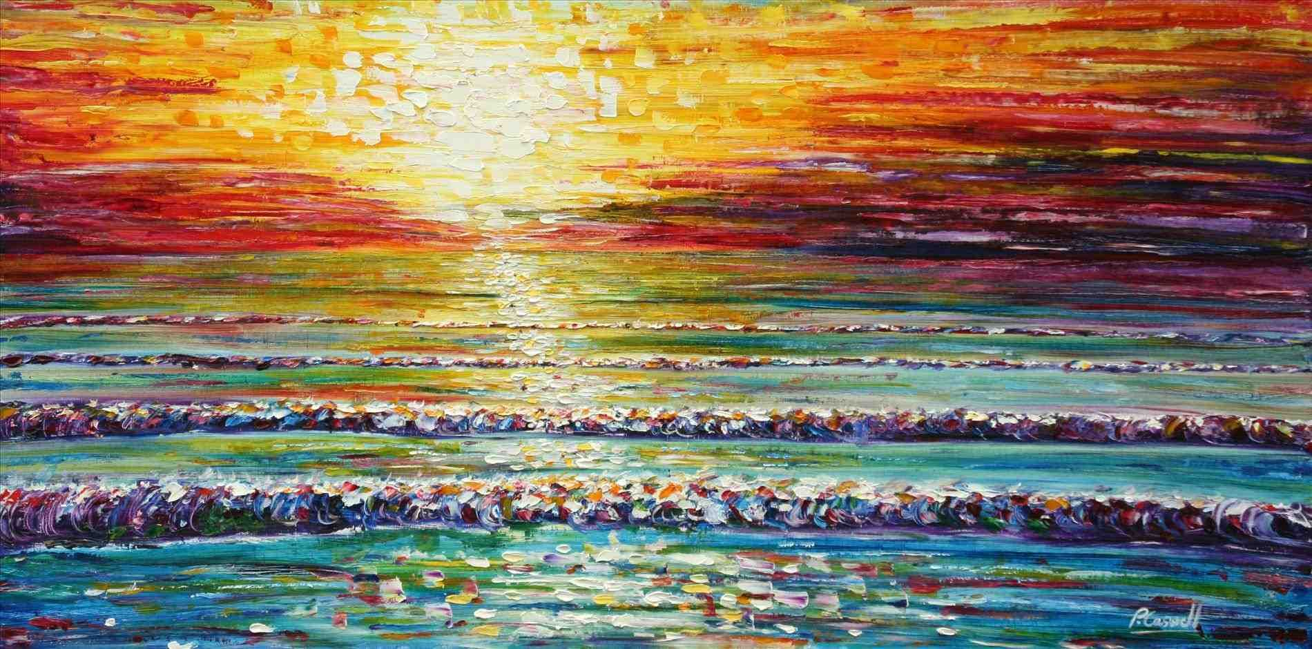 Abstract Beach Sunset Paintings
