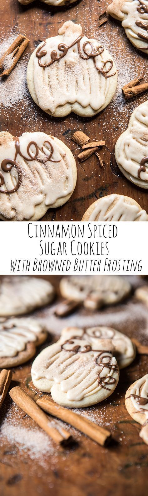 Cinnamon Spiced Sugar Cookies with Browned Butter Frosting #frostings