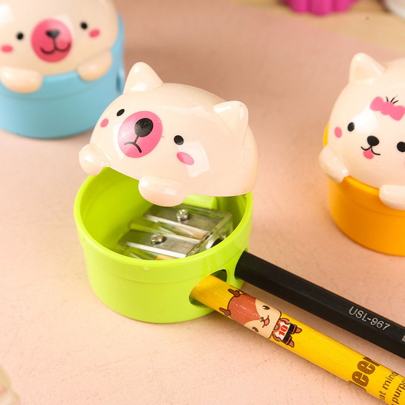 Cute Cartoon Cat Plastic Pencil Sharpener For Kids Student School Office FO