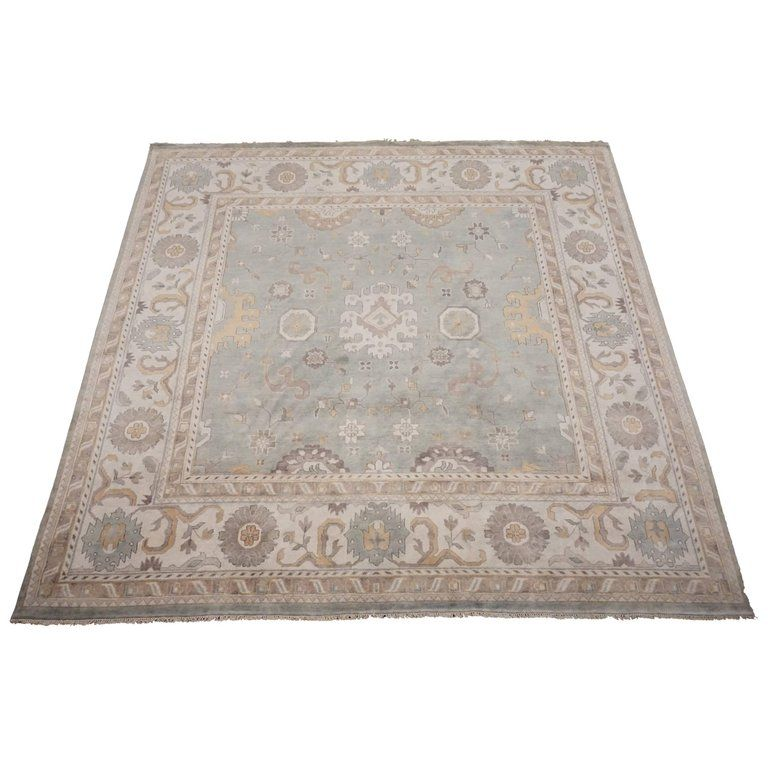 12 X 12 Blue Green Square Oushak Area Rug With Beige Border