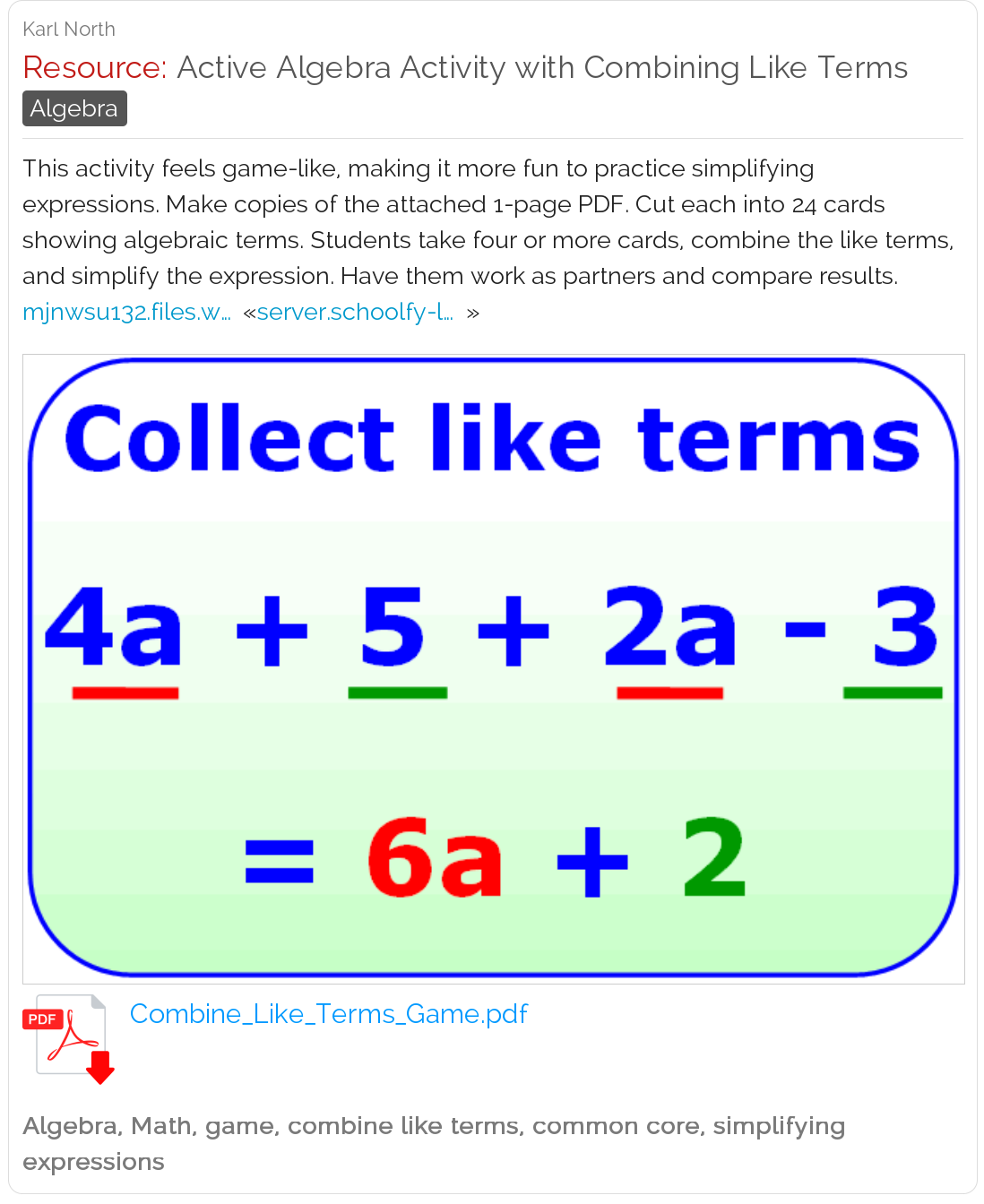 Active Algebra Activity With Combining Like Terms Like Terms Combining Like Terms Simplifying Expressions