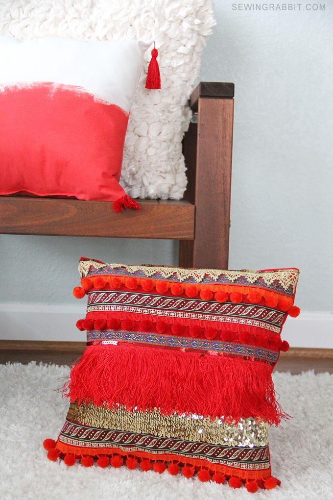 Easy To Make DIY Fringe Bohemian Pillow DIY Fringe Pillow Unique How To Make A Decorative Pillow With Fringe