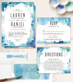 Gallery Abstract Art Customizable Wedding Invitations in Blue by