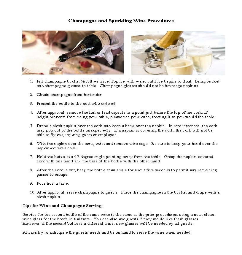 Wine and champagne service training overview. Restaurant