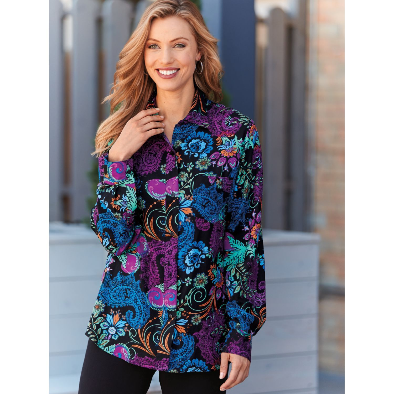 fingerhut - blair plus size challis top | blouses | pinterest
