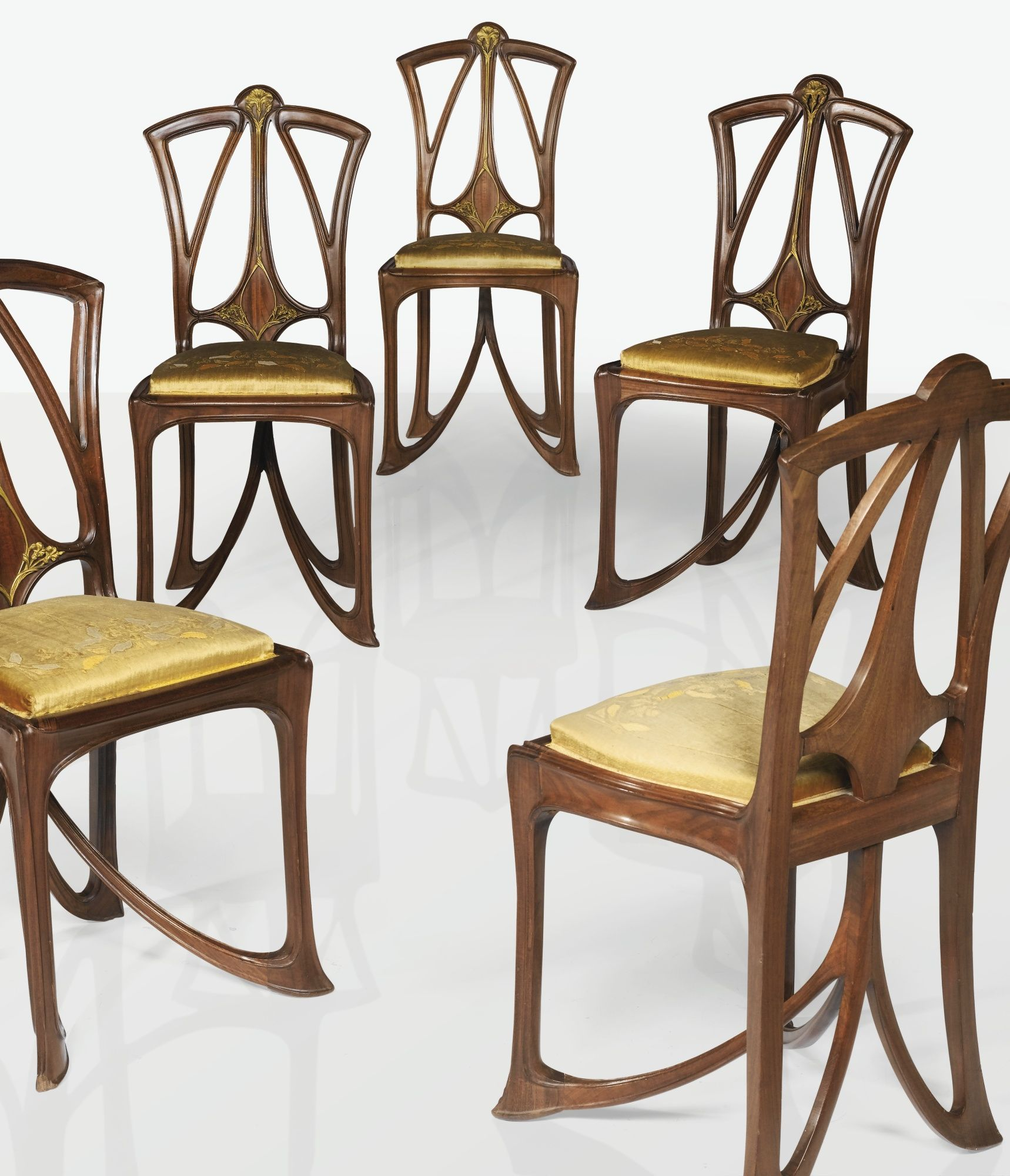 modern art nouveau furniture. Louis Majorelle A SET OF FIVE MAHOGANY AND GILT-BRONZE CHAIRS WITH ORIGINAL VELVET UPHOLSTERY. Art Nouveau Modern Furniture I