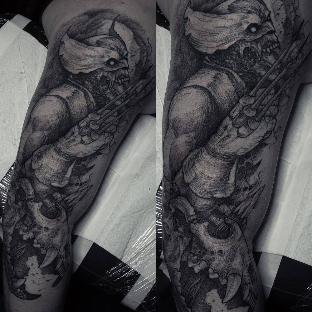 Wolverine Inspired Horror Tattoo On The Right Upper Arm And