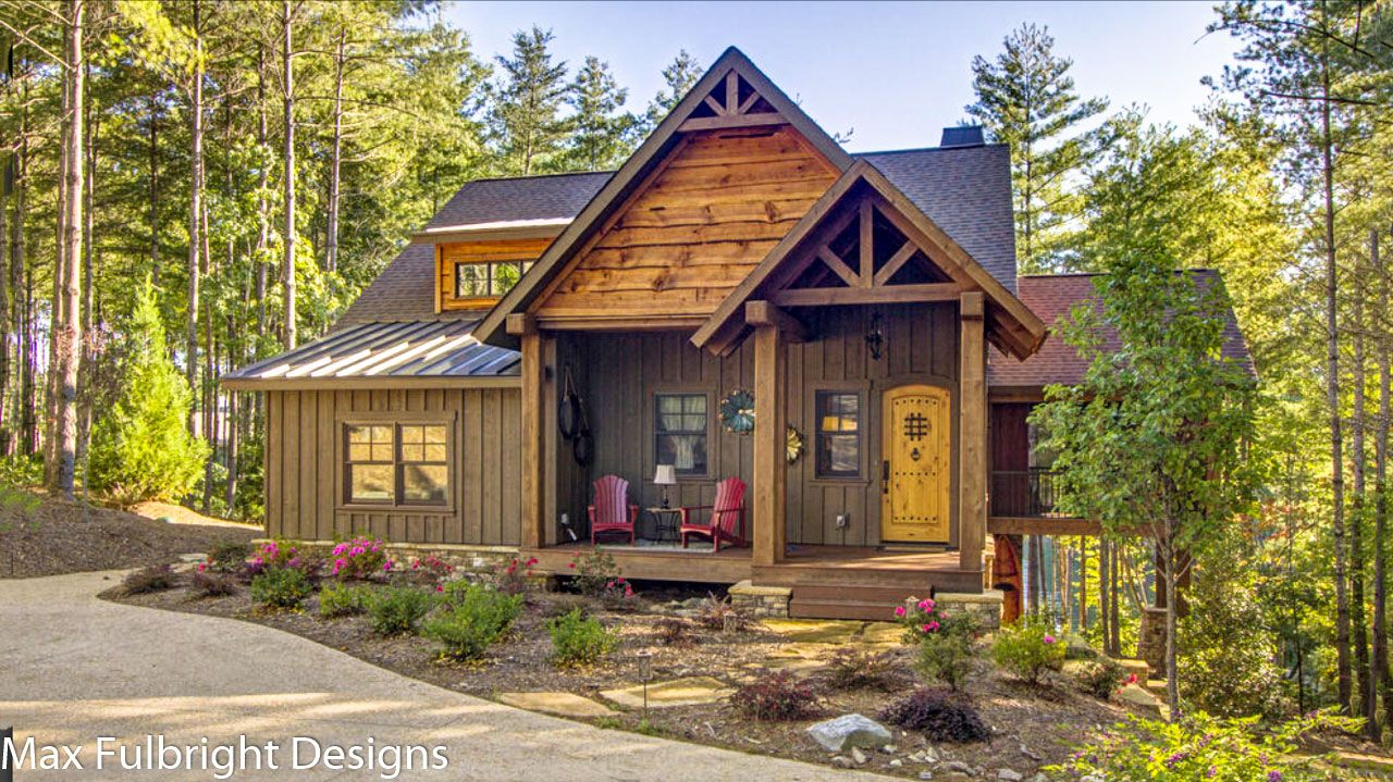 Small Cabin Home Plan with Open Living Floor Plan   Tiny Homes     Our Blowing Rock Cottage is a small 2 story 3 bedroom rustic cabin design  with a open floor plan layout and walkout basement designed by Max  Fulbright