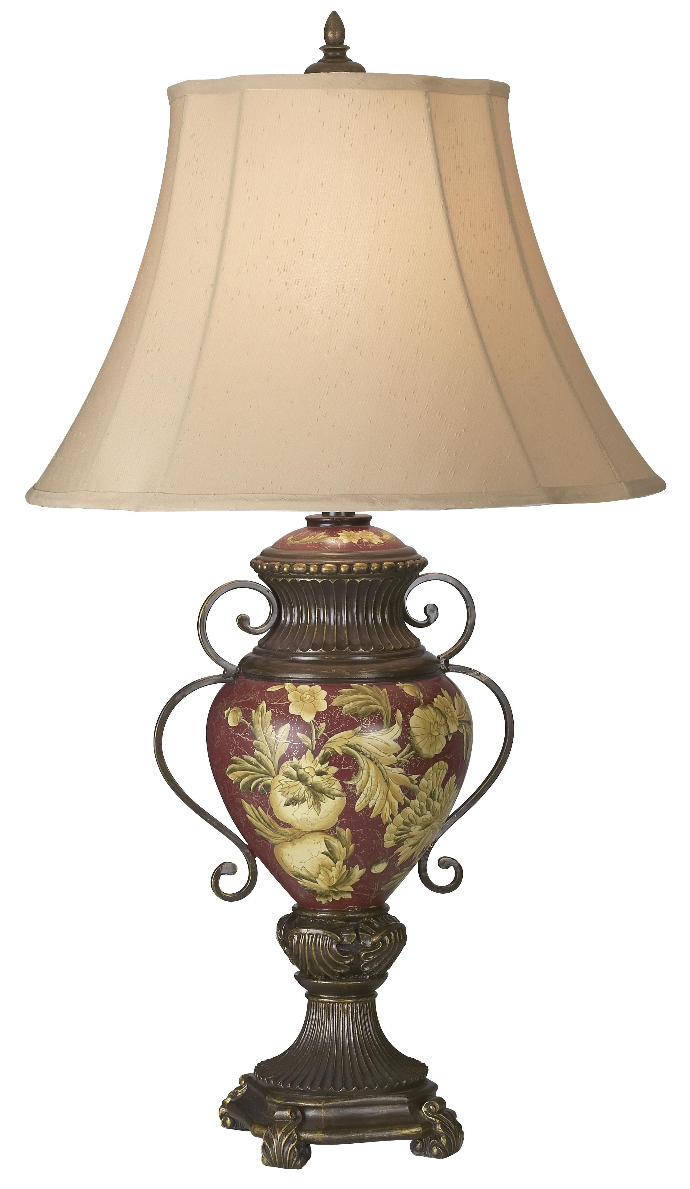 Possini Collection Tuscan Red Fl Urn Table Lamp