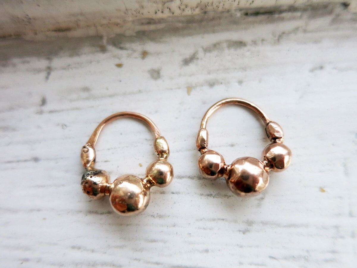 Antique Small 8k Rose Gold Criolla Earrings From The Philippines By Tambourinejewelry On Etsy Https Www Etsy Com Li Beautiful Pink Rings Rose Gold Pink Stone