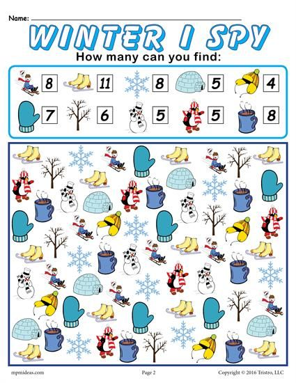 Winter I Spy - FREE Printable Winter Counting Worksheet ...