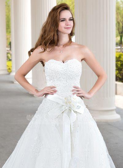 Corte de baile Escote corazón Tren de la corte Organdí Satén Vestido de novia con Encaje Bordado Flores (002011970)