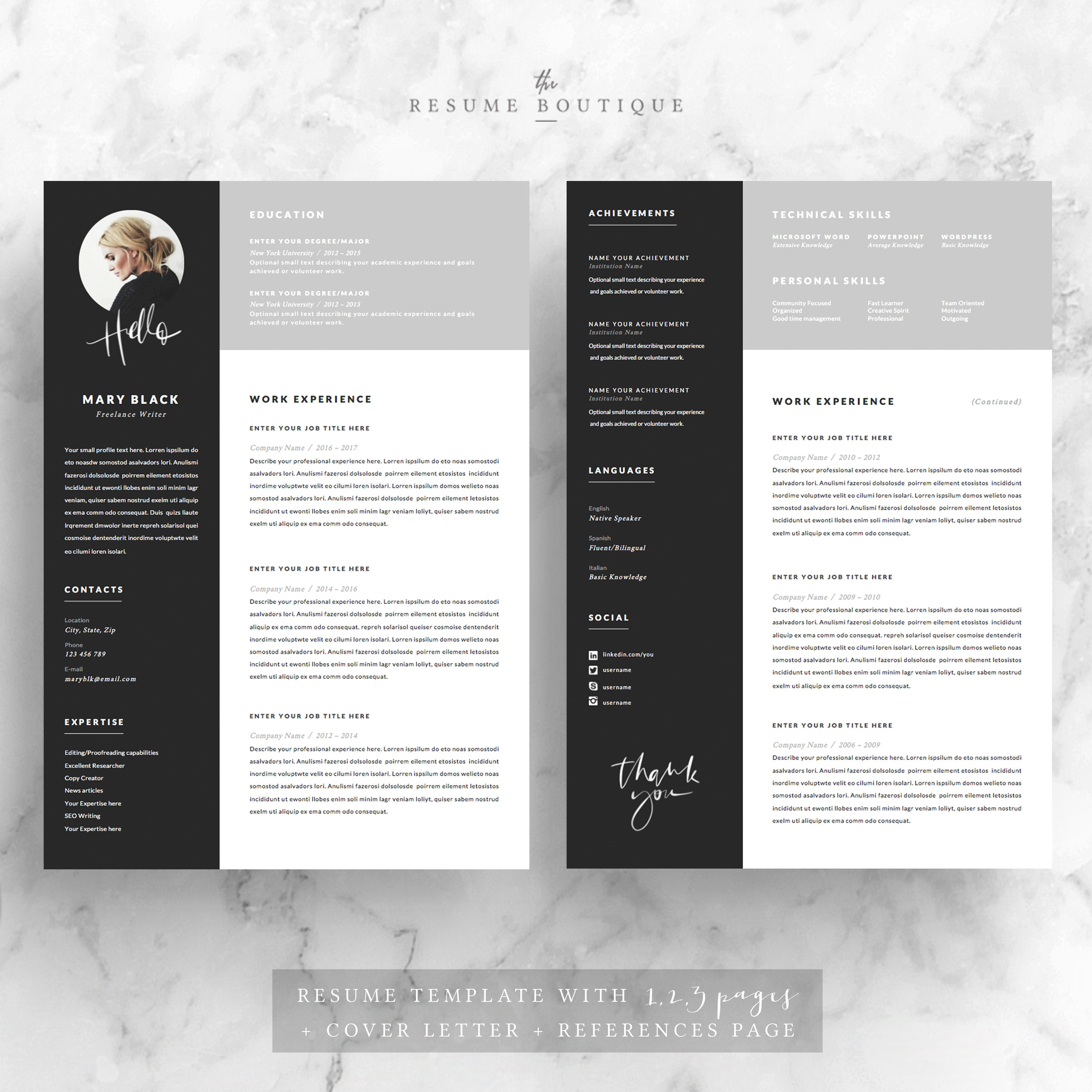 5 page Resume Template | Blackie by The.Resume.Boutique on ...